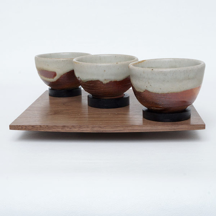 Oregon black walnut serving tray with three handmade ceramic teacups