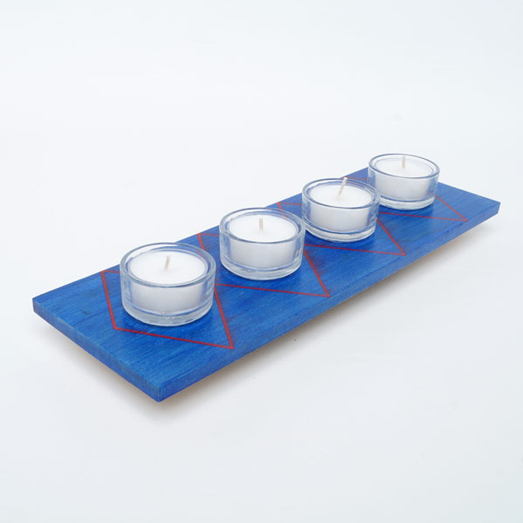 Blue wooden holder for four tealight candles
