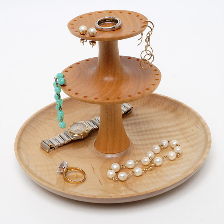 Two-tier jewelry stand with earring holders