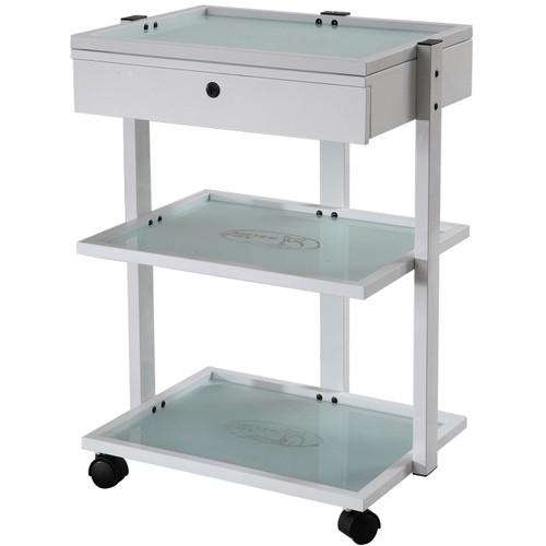 Glass Shelf Trolley Table with Locking Drawer - Silver Fox 1040A