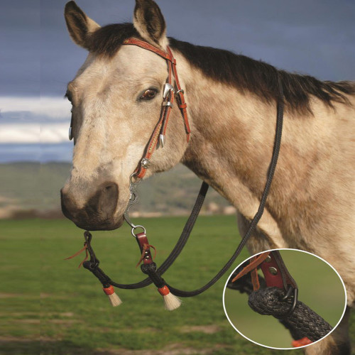 "Double Diamond Halter Company is proud to announce our newest product – the style # 4957 fully adjustable one piece rein made from our popular waxed-nylon. These reins are available in both ½"" and 1"" widths and come in either white or black. They can adjust from 4' to 8 ½', so they will fit a pony size horse to a Thoroughbred."
