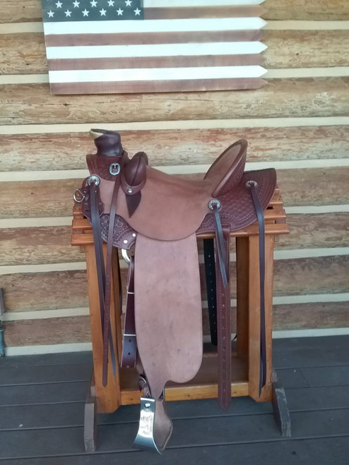 Rough out seat and fenders with stamped flat plate, cantle back, fork cover and horn cap as shown. $4,350. Cantle binding on close contact, $200. Silver available.