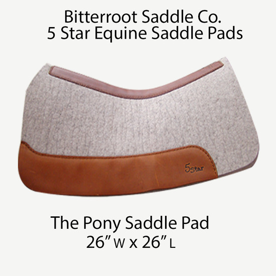Western saddle pad made just for ponies. A pony may be smaller, but that doesn't mean you want to skimp on quality. This 100% virgin wool pad keeps the moisture away and prevents hot spots. Your pony will love you for this pony western saddle pad.