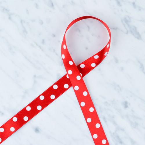 Polka Dot Satin Ribbon: 15mm