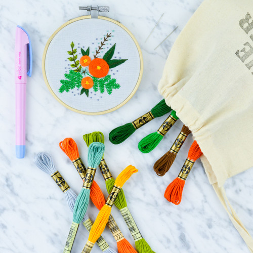Orange Posy Embroidery Kit