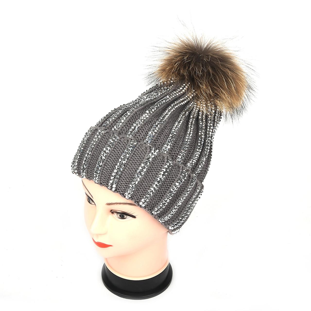 299e0b795 Pack of 12pcs Real Fur Pom Pom Diamante Hat XD-1701-2700 in 8 Colours