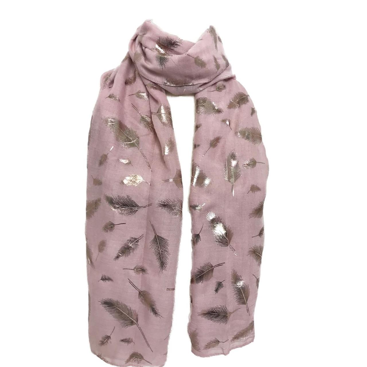 79ccc2501b1 Rose gold metallic feather print scarf YQ-1205-0610