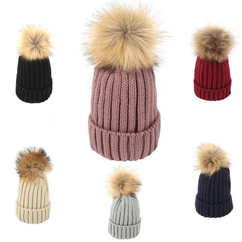 2ae1608f9 Pack of 12pcs Kids Faux Fur Pom Pom Hat XD-1707-0730 - Nancy Fashion