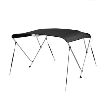 "Bimini Top Boat Cover 3 Bow 54""H x 67""-72"" W Solution Dye Black"