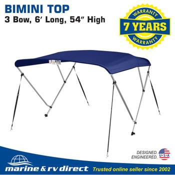 "New 4 Seasons Brand Boat Bimini Top Cover 3 Bow 54""H x 73""-78"" W..Navy Blue"