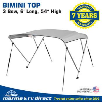 "New 4 Seasons Brand Boat Bimini Top Cover 3 Bow 54""H x 73""-78"" W Gray"