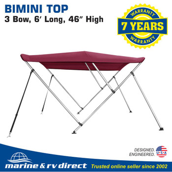 "Bimini Top Boat Cover 46"" High 3 Bow  79""-84"" Wide 6' L BURGUNDY, w/ Rear Poles"
