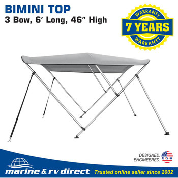 """3 Bow Bimini Top Boat Cover 46"""" H X 73""""-78"""" W 6' Long, Includes Rear Support Poles, Gray"""