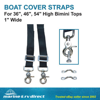 "Marine & RV Direct Bimini Top Straps 1"" Wide For 36"", 46"" 54"" High Stainless Steel Eye Hooks (Set of 2)"