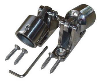 """Marine & RV Direct 1"""" Bimini Top 316s Stainless Steel Kit (8 Pieces), Ends Caps, Deck Mounts"""