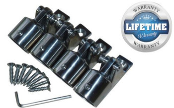 """Marine & RV Direct 1"""" Bimini Top 316s Stainless Steel Kit (16 Pieces), Ends Caps, Deck Mounts"""