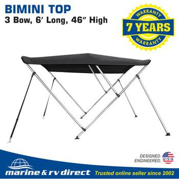 "Bimini Top Boat Cover 46"" High 3 Bow 6' ft. L x 67"" - 72"" W Solution Dye Black"