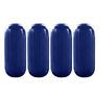 "4 Boat Fenders 10"" x 28""  HTM Premium Dock Protection Vinyl Ribbed Bumper BLUE"