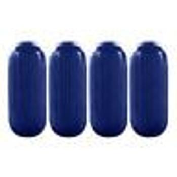 "4 Boat Fenders 10"" x 28""  HTM Premium Dock Protection Vinyl Ribbed Bumper BLUE"
