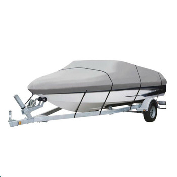 Deluxe V-HULL 16' – 18.5 WATERPROOF Boat Cover 600 Denier – GRAY