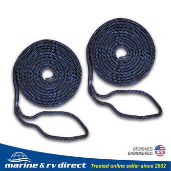 2 PCS 1/2 Inch 15 FT Double Braided 16 Strand Nylon Dock Line Mooring Line Boat Dock Rope NAVY BLUE