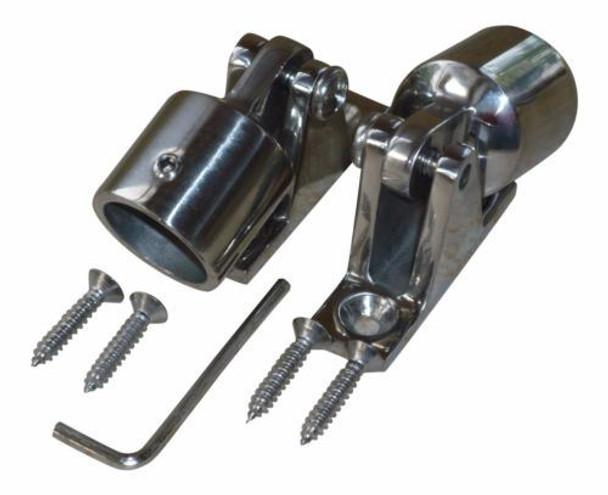"Marine & RV Direct 1"" Bimini Top 316s Stainless Steel Kit (8 Pieces), Ends Caps, Deck Mounts"