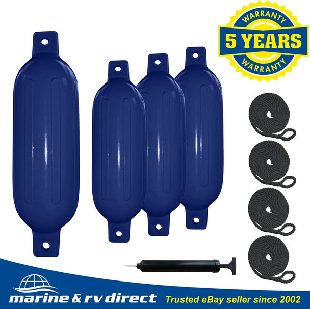 "4 Ribbed Marine 8.5"" X 27"" Boat Fender Vinyl Bumper Dock Shield Protection Blue With Black Lines"