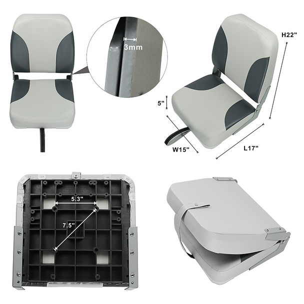Set of 2 Deluxe High Back Folding Marine Boat Seats - Grey/Charcoal Gray