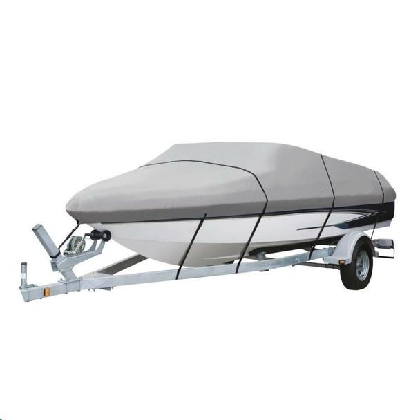 Delxue  V-HULL 16 Foot WATERPROOF Boat Cover 600 Denier - GRAY