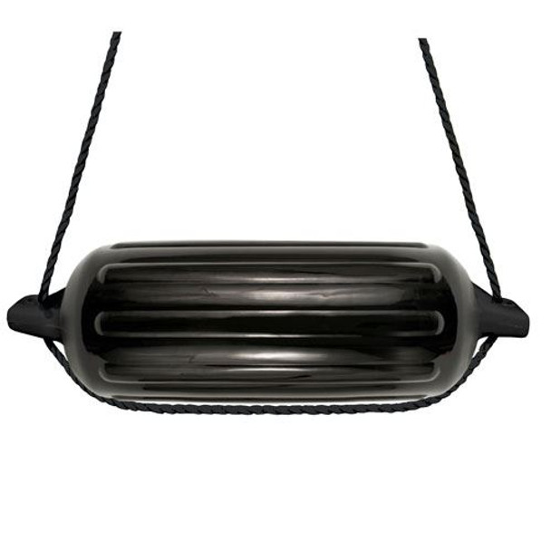 "4 Boat Fenders 8.5"" x 27"" Vinyl Ribbed Bumper Dock Shield Protection Black Includes (4) 7' Long BLACK Fender Lines & Pump to Inflate"