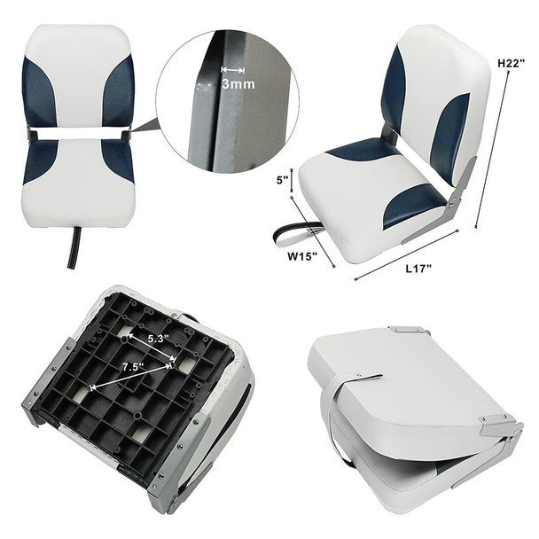 Set of 2 Deluxe High Back Folding Marine Boat Seats - NAVY BLUE - WHITE