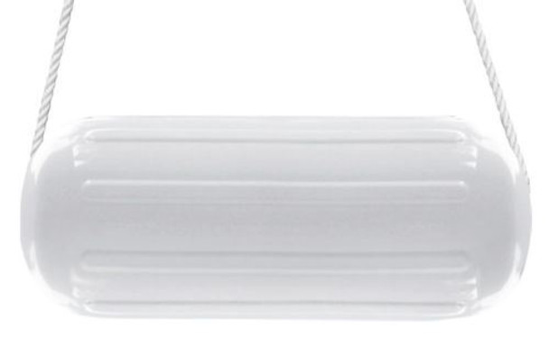 "4 Boat Fender 10"" x 28""  HTM Center Hole Premium  Vinyl Ribbed Bumper White"