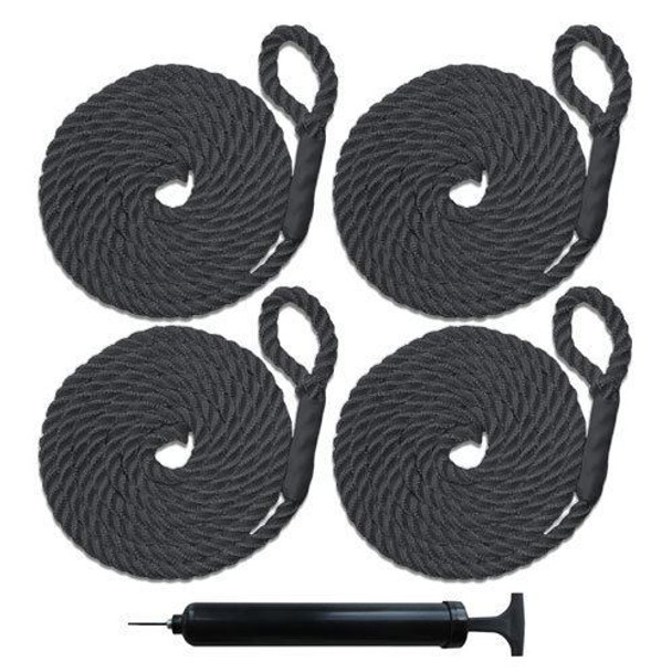 """4 NEW RIBBED BOAT FENDERS 10"""" x 28"""" BLACK CENTER HOLE BUMPERS MOORING PROTECTION"""