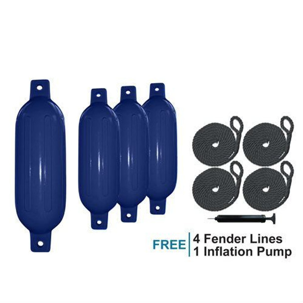 """Marine & RV Direct 4 Boat Fender 6.5"""" x 23"""" Vinyl Ribbed Bumpers Dock Shield Protection Blue"""