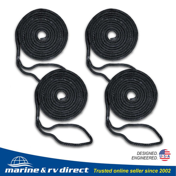 4 PCS 3/8 Inch 15 FT Double Braided 16 Strand Nylon Dock Line Mooring Line Boat Dock Rope BLACK