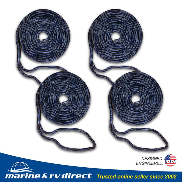 4 PCS 1/2 Inch 15 FT Double Braided 16 Strand Nylon Dock Line Mooring Line Boat Dock Rope NAVY BLUE