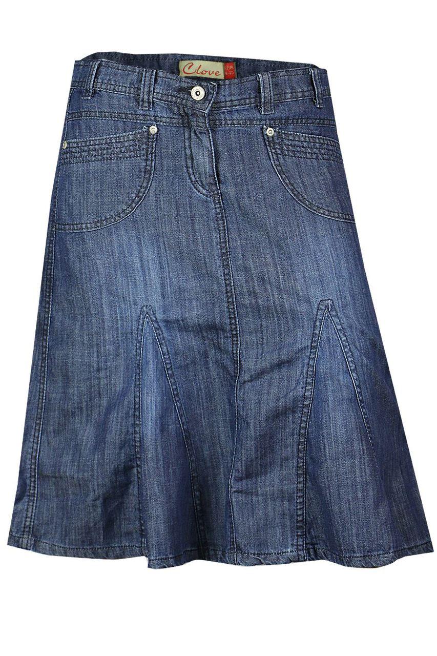 c656c266a0c Knee Length A Line Soft Wash Light Denim Skirt Plus Size 14 16 18 20 22 24