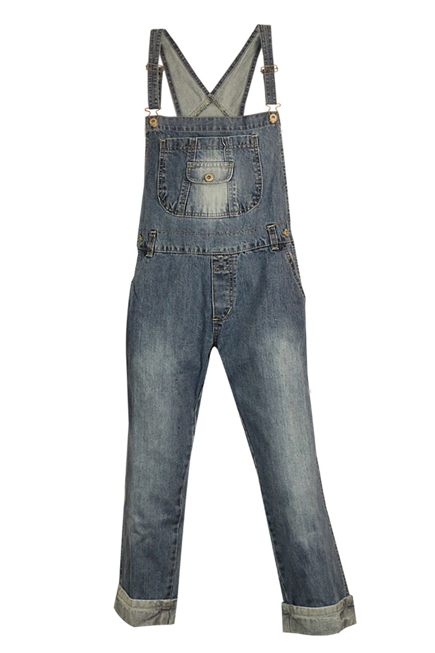 Vintag Women/'s Ladies Denim Dungarees Slim Fit  Jeans Pockets Jumpsuit Overalls