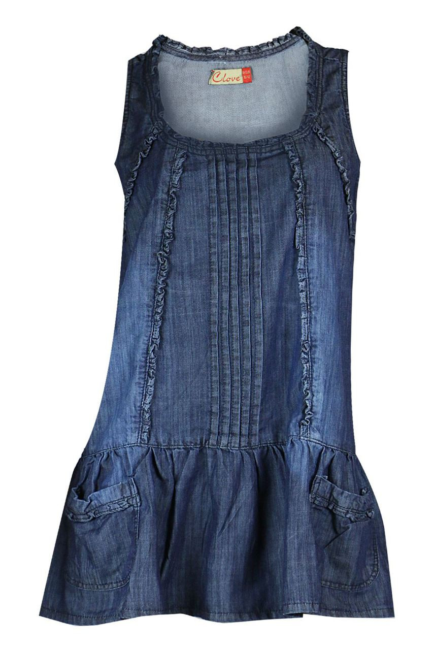 70cb5d8a4df Blue denim plus size short sleeveless feminine tunic dress