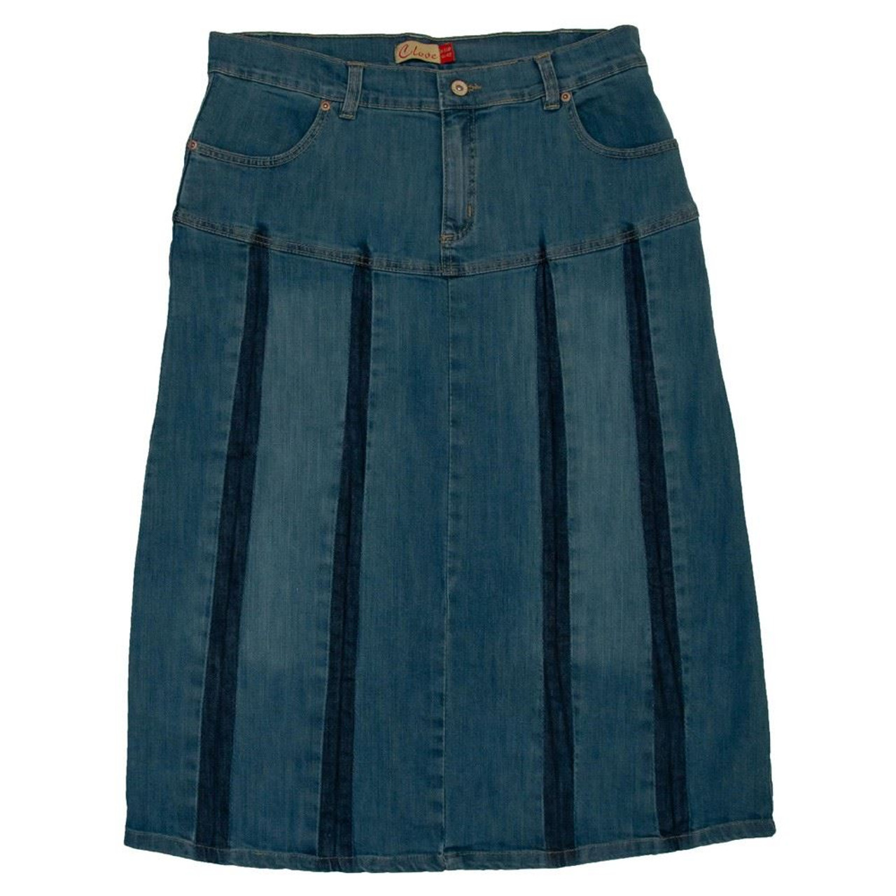 5b0947f4962f3 Clove A Line pleated Blue Denim Jeans Womens Midi Skirt Plus Size 14 16 18  20 22 24 - Jeans Oasis