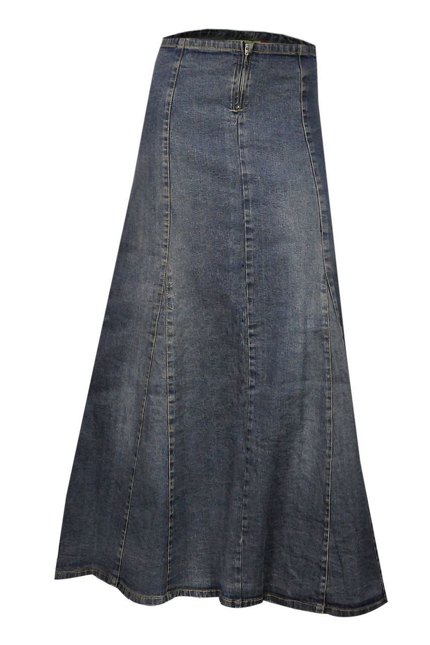 3add6804c Clove Womens a Line Skirt Blue Stretch Denim, Ankle Length Maxi Plus, Sizes  12-24
