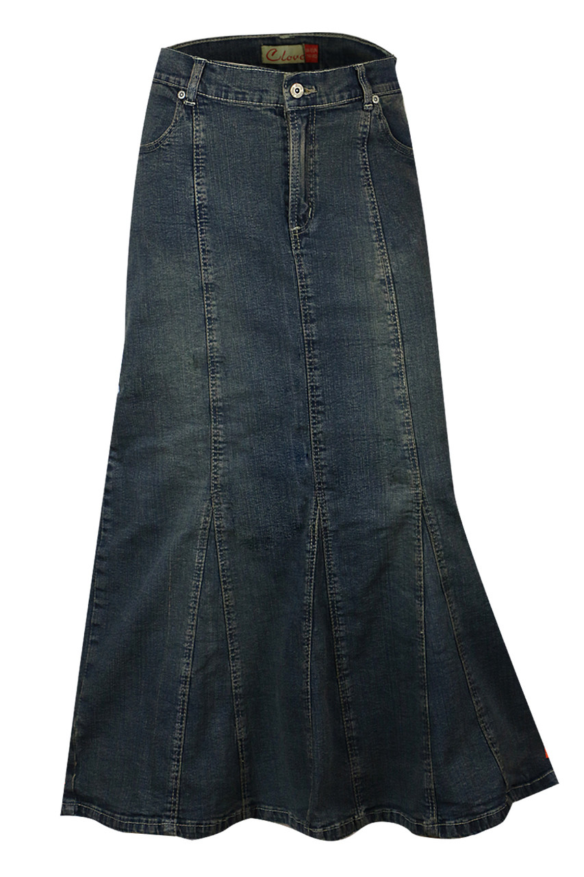 33101961722 Full Length Denim Skirt Ladies Maxi Online UK