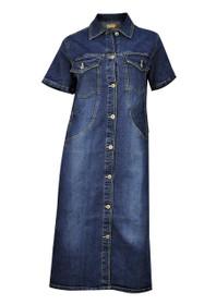 ad51ba1fdf7 Clove Women Half Sleeves Button Up Stretch Blue Denim Midi Dress plus Size