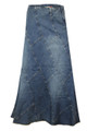 A Line Vertical panelling Blue Denim Jeans Full length Long Plus Size