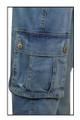 Blue Stretch Denim distress Vintage look Combat Jeans Plus size 16 18 20 22 24