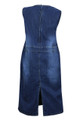 New Blue Stretch Denim Sleeveless Midi Dress