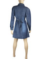 Clove Women Blue Denim A-Line Relaxed Fit Long Sleeves Skater Dress