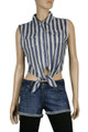 New Blue & Beige StripeTie Front Top Beach Cotton Blouse/Top Shirt UK 6 8 10 12