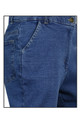 Cropped Blue Stretch Denim Jeans Front Pocket  Side View