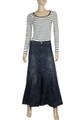 full length long denim skirt for womens